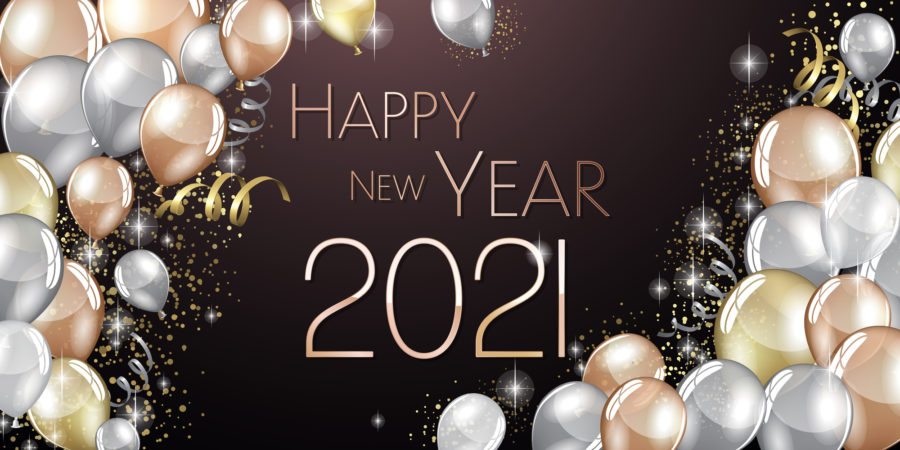 Happy New year 2021 large greeting card illustration